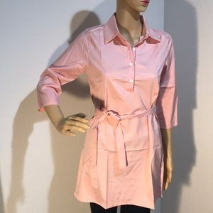 Dresses - 👠 New Vintage Style Tunic Shirt Dress Pink Button